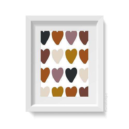 Large Boho Hearts Print