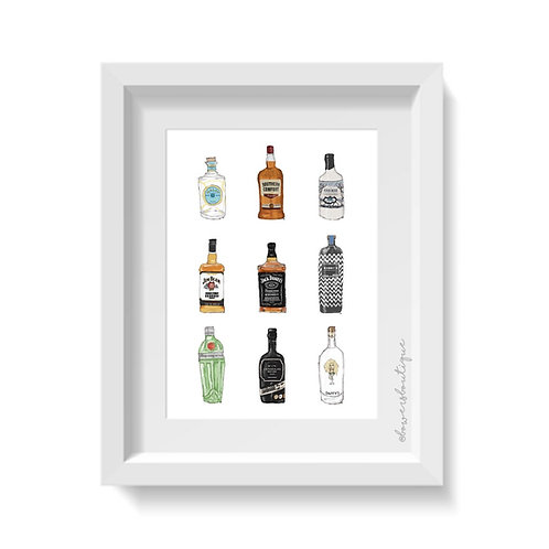 9 Bottle Illustrations Print