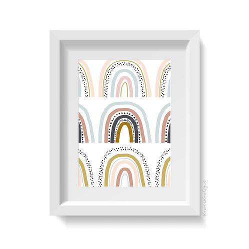 3 Large Rainbows Print