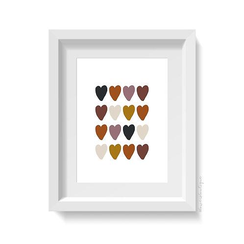 Boho Hearts Print