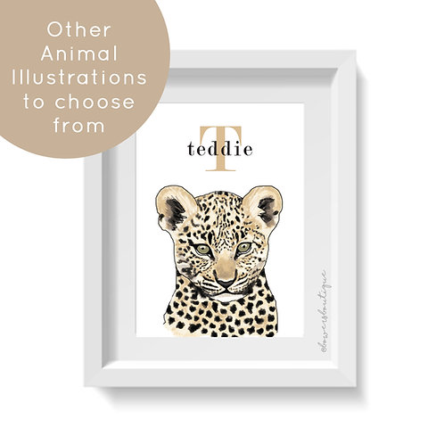 Personalised Name - Baby Animal Illustration Print