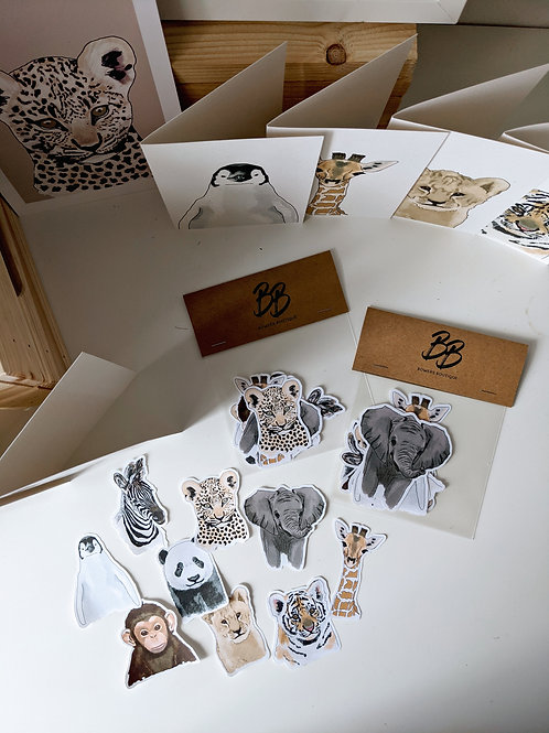 Baby Animal Bundle - Cupcake Toppers, Stickers & Cards
