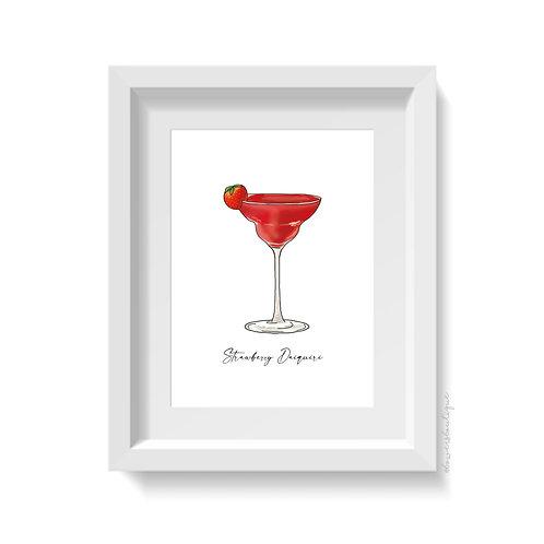 Strawberry Daiquiri Glass Print