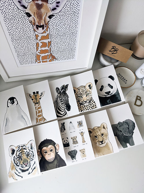 10 Pack Recycled A6 Baby Animal Cards