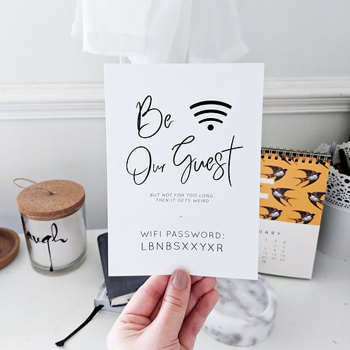 WiFi Password Print - Be Our Guest