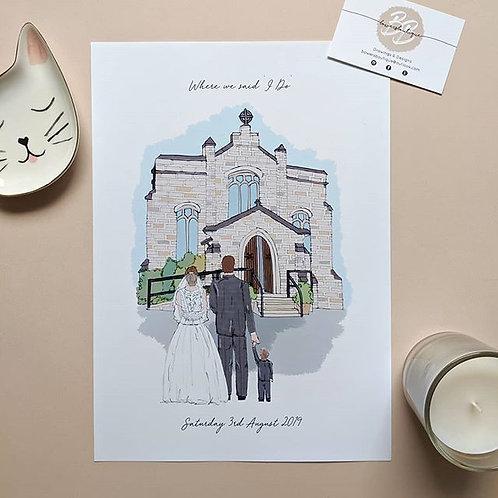 Wedding Venue & Newlywed Illustration