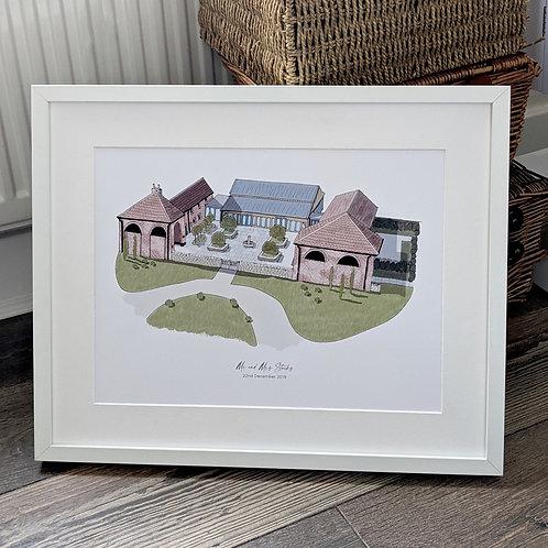 Hazel Gap Barn Wedding Venue Illustration