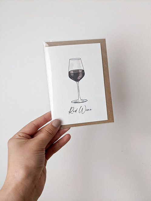 Red Wine Greetings Card