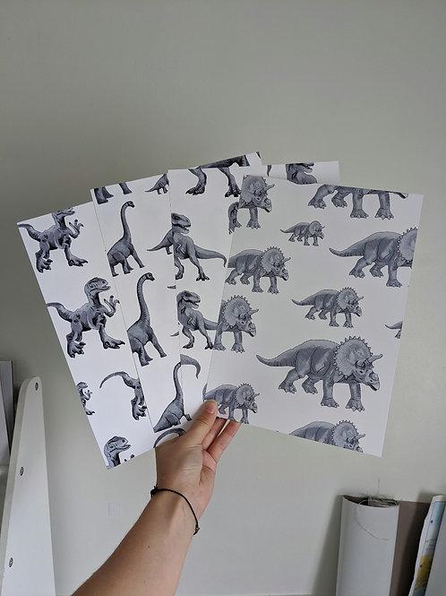 A4 x 4 Dinosaur Prints B&W