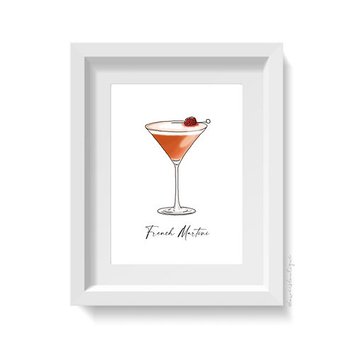 French Martini Glass Print