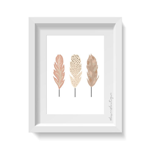 3 Pink & Neutral Feathers Print
