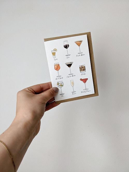 9 Drinks Illustrations Greetings Card