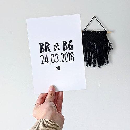 Initials & Date Print