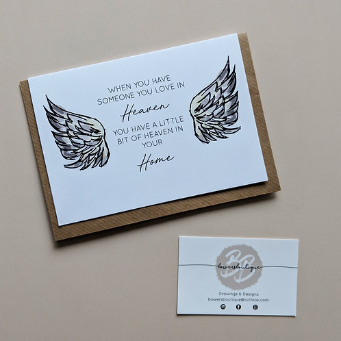 Angel Wings Heaven - A6 Greetings Card