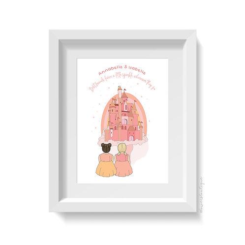 Personalised Best Friend & Castle Print