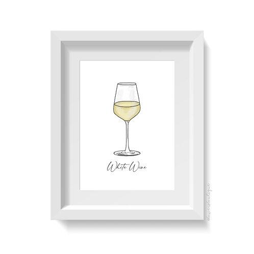 White Wine Glass Print