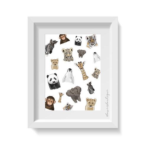 Baby Animal Pattern Print