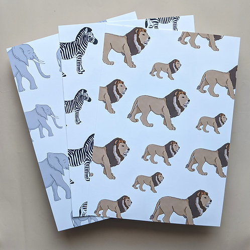 Animal Illustration Print - Lion, Zebra or Elephant