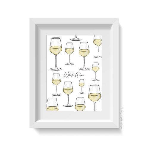White Wine Print - Multiple