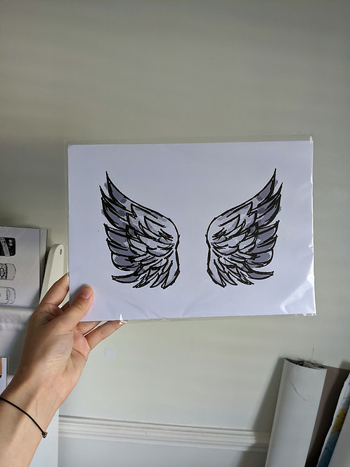 Grey Angel Wings A4