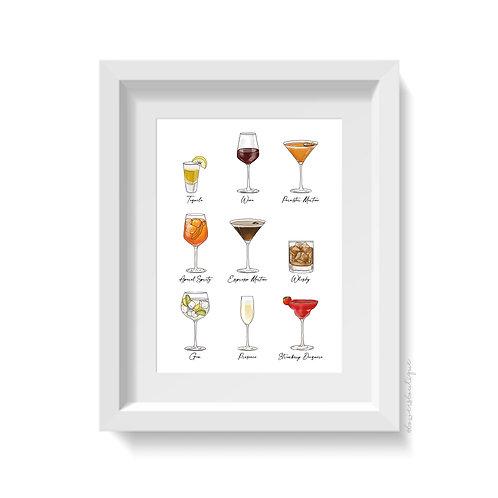 9 Drinks Illustrations Print