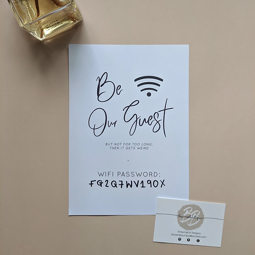 Blank WiFi Password Print - Be Our Guest
