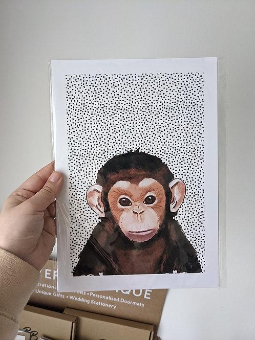 A4 Monkey Dot Print - Bent Corner