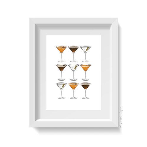 9 Martini Glasses Print