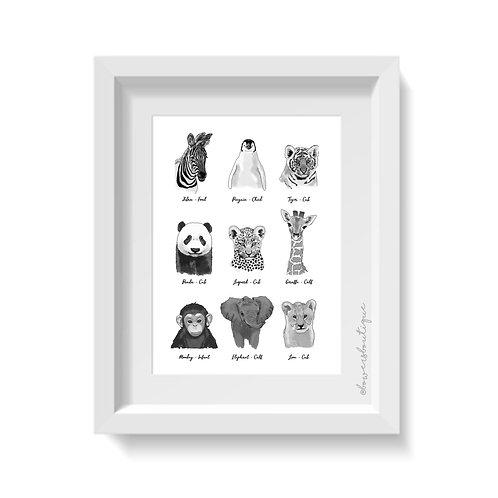Monochrome Baby Animals Print - 9 Illustrations