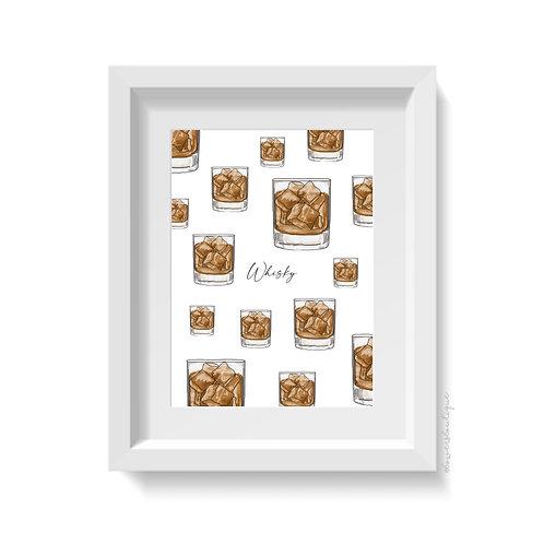 Whisky Glass Print - Multiple