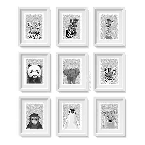 Dot Background & B&W - Baby Animal Prints