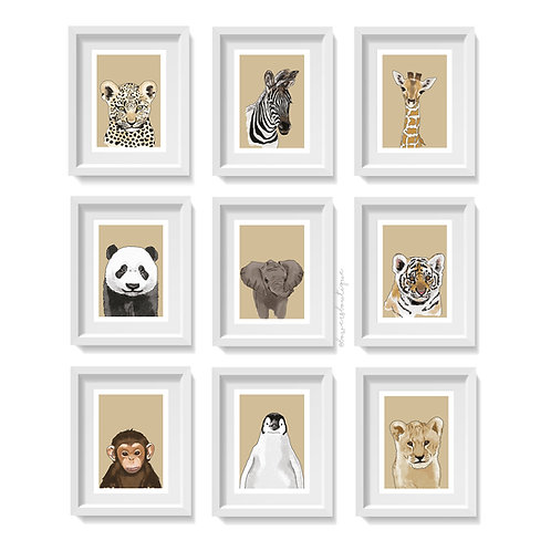 Beige Background & Colour - Baby Animal Prints