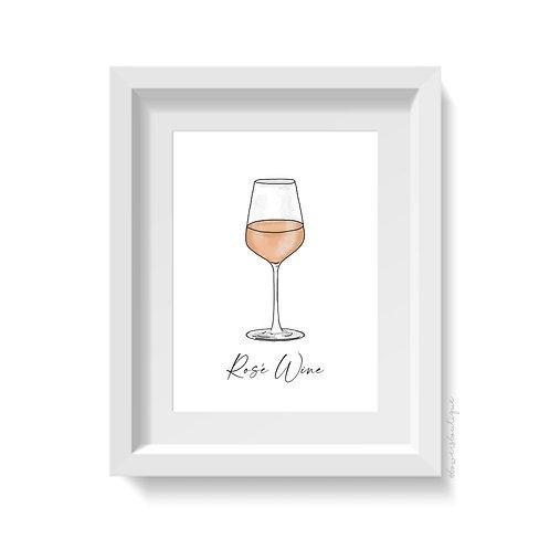 Rose Wine Glass Print