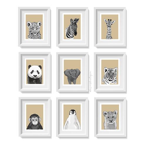 Beige Background & B&W - Baby Animal Prints