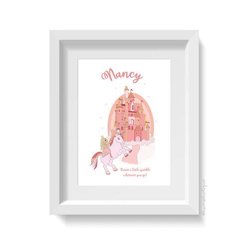 Personalised Princess, Castle & Unicorn Print