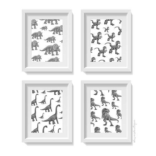 4 x Dinosaur Prints -B&W