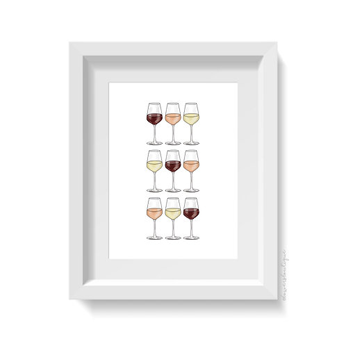 9 Wine Glasses Print