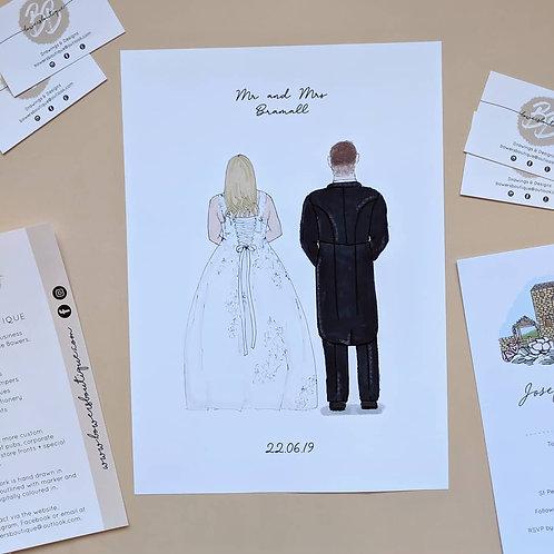 Wedding Couple Personalised Illustration