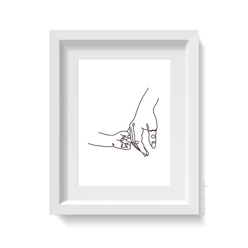 Mother & Child Holding Hands Print