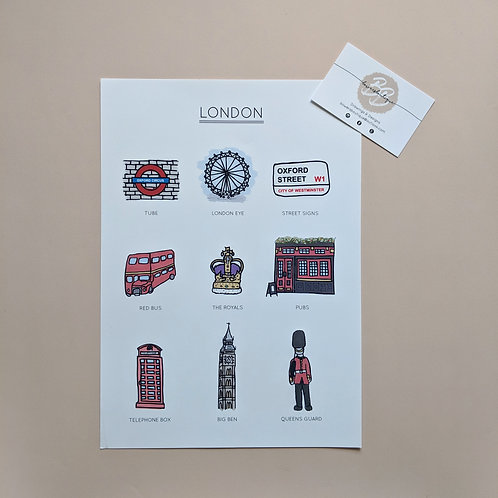 London City Attractions - Hand Drawn Illustrated Print