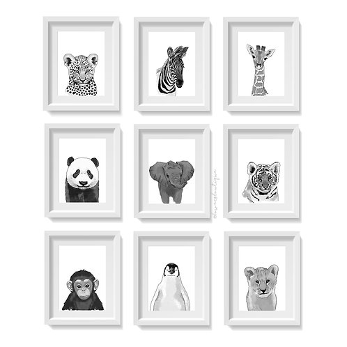 Monochrome Baby Animal Illustration Prints