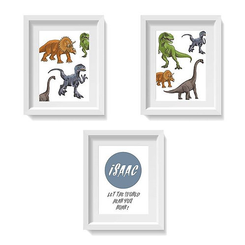 Dinosaur Prints - Collection of 3 with Custom Name