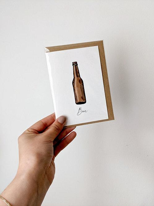Beer Bottle Greetings Card