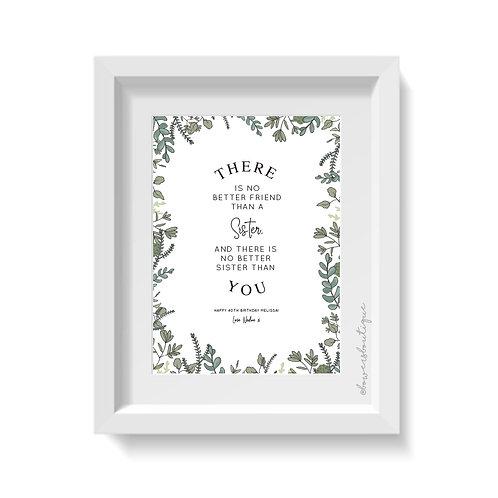 Green Foliage Custom Text Print
