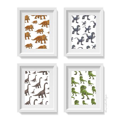 4 x Dinosaur Prints - Colour