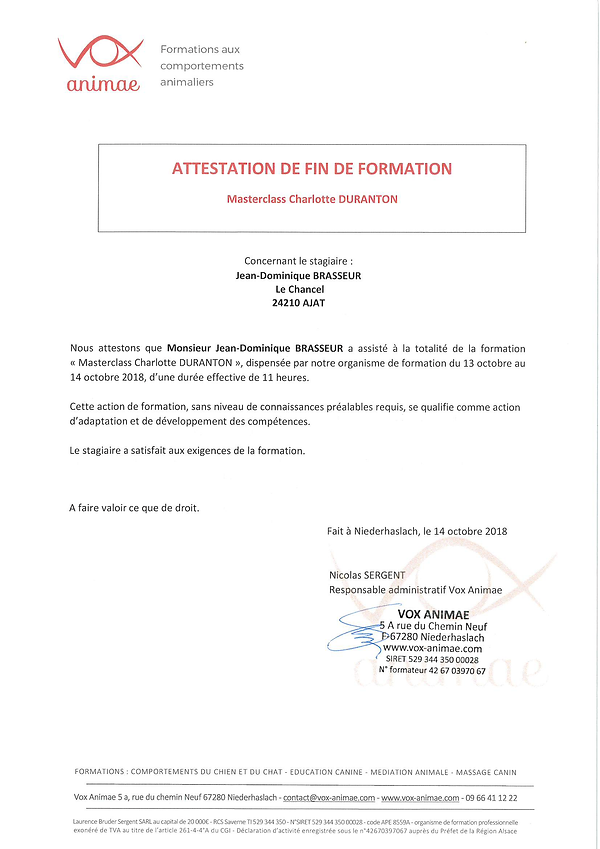 attestation master class Charlotte Duran