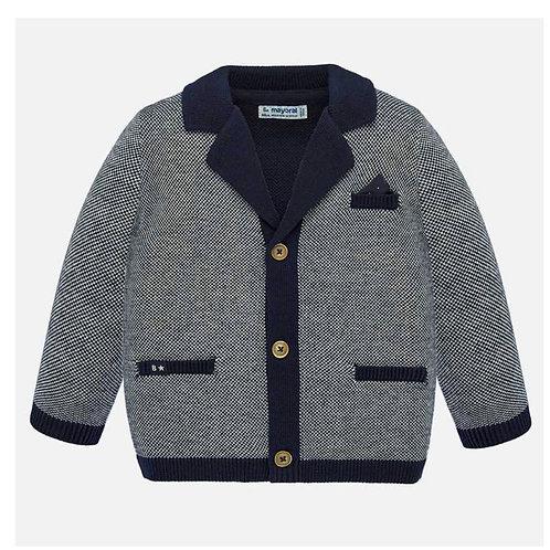 Mayoral navy/wt knit jacket w/ pocket sq