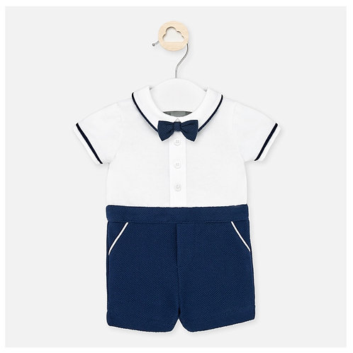 Mayoral navy bow tie romper