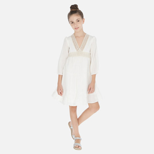 Mayoral boho Ivory dress w/ embroidered accent