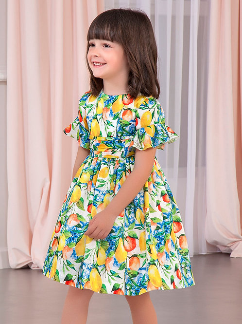Abel and lula citrus dress w/ flutter sleeve